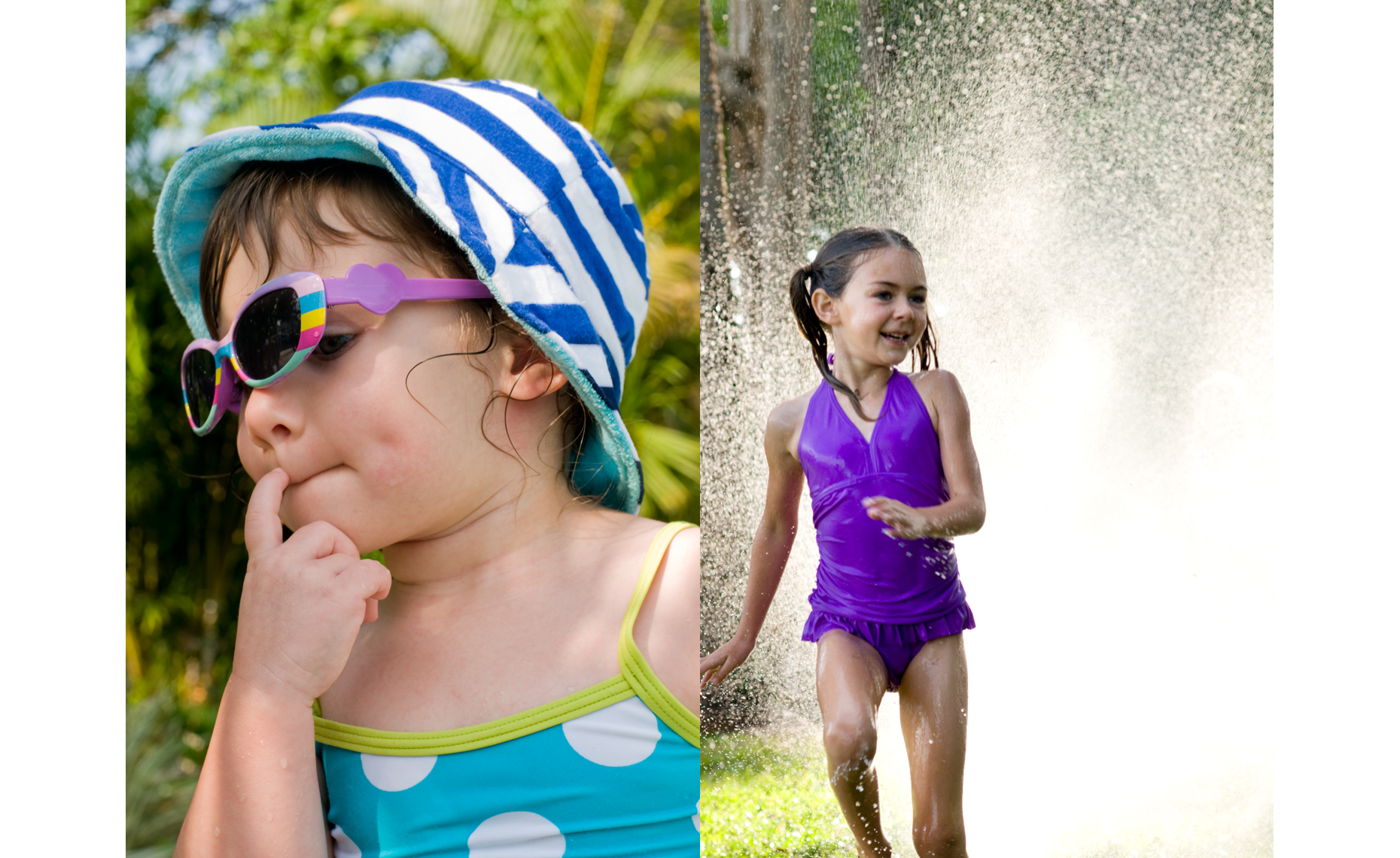 girl in hat sunglasses and bathing suit and girl in purple bathing suit runningin sprinkler